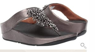 Fitflop Sandale Rumba Toe-Thong mit Perlenfransen. Farbe: pewter.