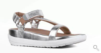 Silberne Fitflop Damen Sandalen. Sandale Limeted Edition Michelle Stein, silber.