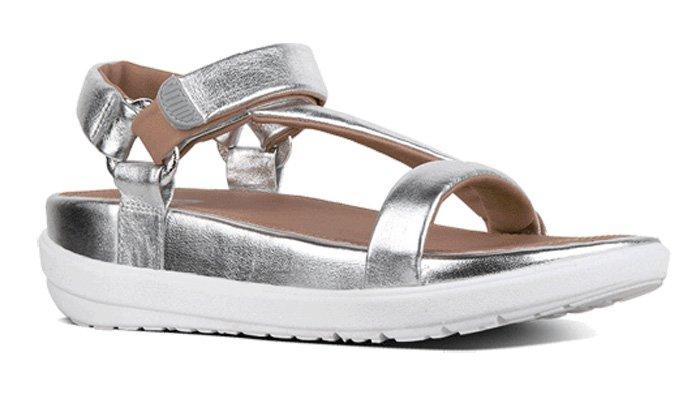 Silberne Fitflop Schuhe für Damen, Sandale, Limeted Edition Michelle Stein, silber.