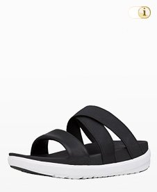 Fitflop Loosh Crossover Slide Sandale, Schwarz.