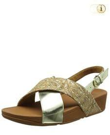 Goldene FitFlop Damen Sandale Lulu in glänzender, gespiegelter Metallic-Optik mit überkreuzten Riemchen, gold.