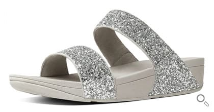FitFlop Glitterball Slide, Damen Offene Sandalen mit Keilabsatz, silber.
