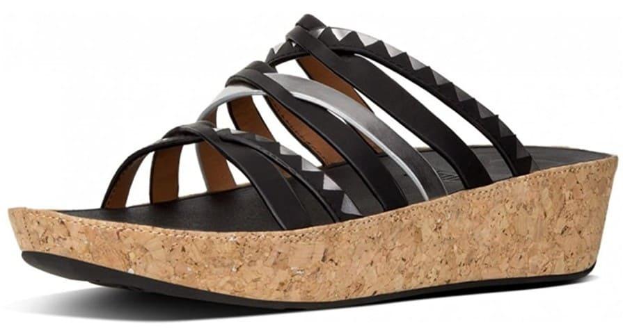 FitFlop Damen Linny Slide Zigzag Peeptoe Sandale, schwarz.