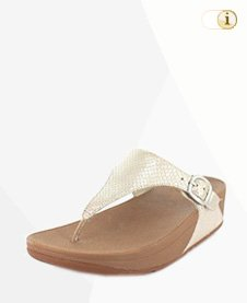 FitFlop Skinny Sandale, Silber, Schlangenmuster.