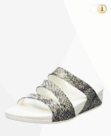 FitFlop Damen Superjelly Twist Snake Sandale, Schwarz / Weiß.