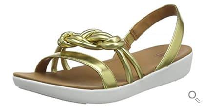 FitFlop Damen Sandale Jasmin mit Knotendesign, gold.