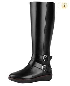 Schwarzer FitFlop Damen Stiefel, Buckle long, schwarz.