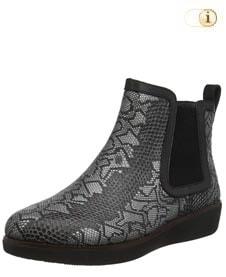 Schwarzer FitFlop Damen Stiefel, Stiefelette Chai Python, schwarz.