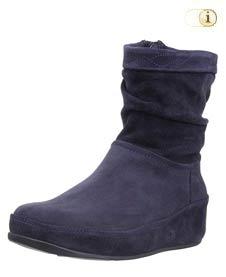 Blaue FitFlop Damen Stiefel, Crush Wildleder Boots, blau.