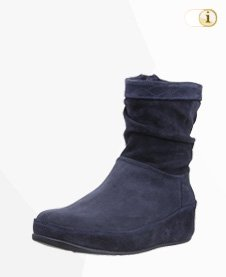 FitFlop Boots, Stiefel, Crush slouchy, suede, dunkelblau.