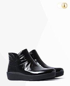 FitFlop Boots, Stiefel, Supermod Stiefeletten, lackschwarz.