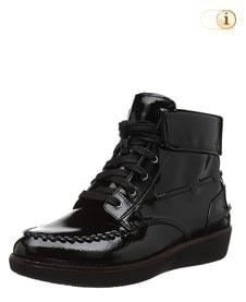 Schwarze FitFlop Damen Stiefel, Gianini Schnürstiefel, schwarz.
