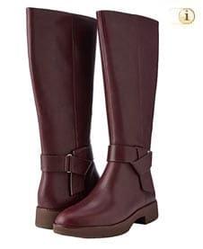 Rotbraune FitFlop Damen Stiefel mit Knoten über dem Spann, kniehoch, rot.