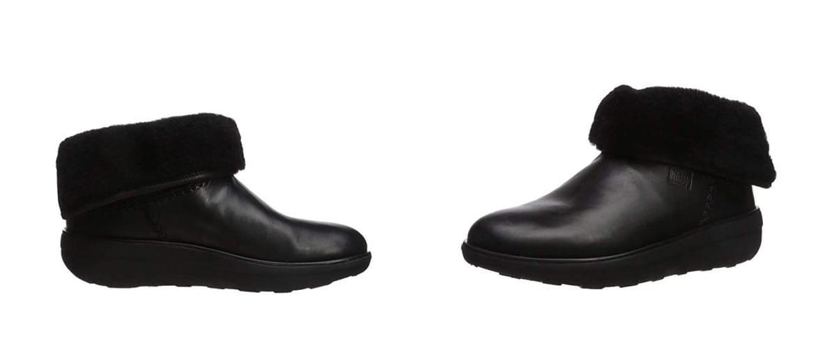 Schwarze Mukluk Shorty Stiefel mit Scherwollfutter, schwarz.