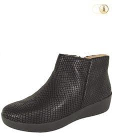 Schwarzer FitFlop Damen Stiefel, Stiefelette Sumi mit Schlangenmusterung, schwarz.