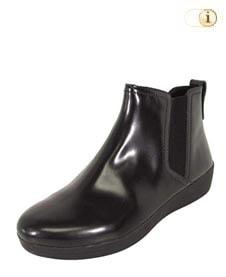 Schwarze FitFlop Damen Stiefel, Superchelsea Stiefelette, schwarz.