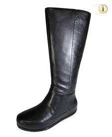 Schwarzer FitFlop Damen Stiefel, Dueboot mit getwistetem Reißverschluß, schwarz.