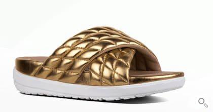Goldene Fitflop Schuhe für Damen, Sandale, Limeted Edition Michelle Stein, gold.