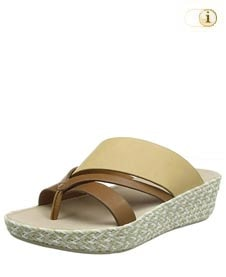 Fitflop Schuhe Damen, Abstract Nora Strap Toe Post Sandalen, beige.