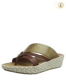 Fitflop Schuhe Damen, Abstract Nora Strap Toe Post Sandalen, metallicgrün.