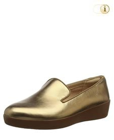 Fitflop Schuhe Damen, Audrey Smoking in schickem mettalic-gold.