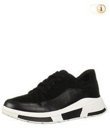 FitFlop Freya Suede Sneaker mit abgerundeten Einsätzen, schwarz.