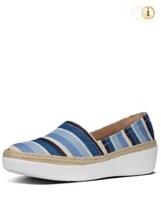 Fitflop Casa™ Slipper aus Canvas mit Jute-Besatz, blaue Streifen.