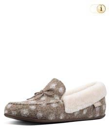 FitFlop Clara Hausschuhe aus gesprenkeltem Wollfilz und Lammfellfutter, braun.