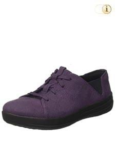 F-Sporty Laceup Sneaker aus texturiertem Leder, violett.