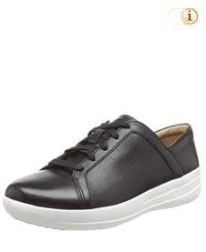 FitFlop™ Lace Up Sneaker mit verfeinerten Designlinien, schwarz.