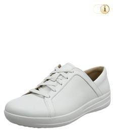 FitFlop™ Lace Up Sneaker mit verfeinerten Designlinien, weiß.