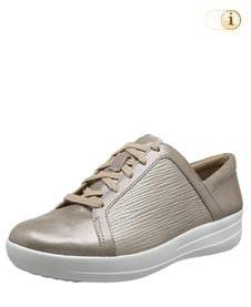 FitFlop Texturierter Metallic Sneaker mit verfeinerten Designlinien, taupe.