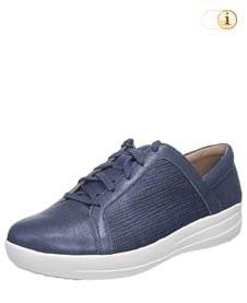 FitFlop Texturierter Metallic Sneaker mit verfeinerten Designlinien, blau.