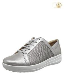 FitFlop Texturierter Metallic Sneaker mit verfeinerten Designlinien, silber.