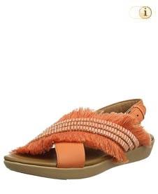 FitFlop™ Frey Adorn Layla Sandale mit Fransen in schönster Form, orange.