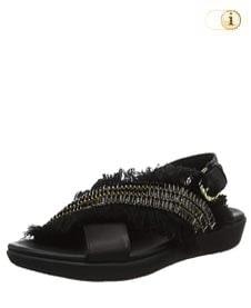 FitFlop™ Frey Adorn Layla Sandale mit Fransen in schönster Form, schwarz.