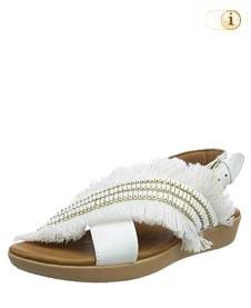 FitFlop™ Frey Adorn Layla Sandale mit Fransen in schönster Form, weiß.