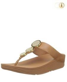 FitFlop™ Halo Peeptoe Sandalen mit drei glänzenden Scheiben, braun.