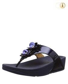 FitFlop Zehensteg-Sandale Lulu Flower. Farbe: spiegelnd dunkelblau.