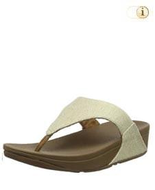 FitFlop Zehensteg-Sandale Lulu Mirage canvas. Farbe: schimmernd khaki.