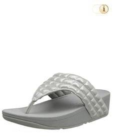 FitFlop Zehensteg-Sandale Lulu padded slide. Farbe: schimmernd silber.