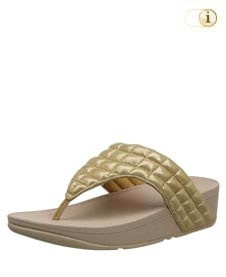 FitFlop Zehensteg-Sandale Lulu padded slide. Farbe: schimmernd gold.