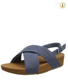 Fitflop Damen Lulu Cross Back-Strap Sandale, blau.