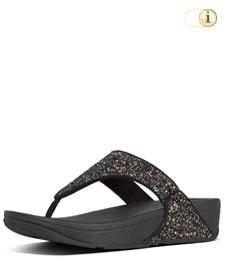 Fitflop Damen Lulu Glitter Toe-Thongs Sandalen, schwarz.