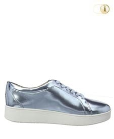 Fitflop Damen Rally Metallic-Optik Sneaker, eisblau.