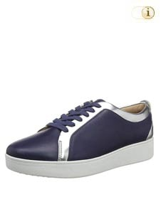 Fitflop Damen Rally Sneaker mit Metallic-Optik, navyblau.