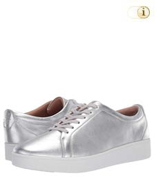 Fitflop Damen Rally Metallic-Optik Sneaker, silber.