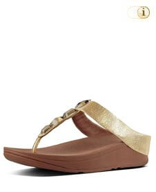 FitFlop Damen Roka Toe-Thong Plateausandalen, gold.