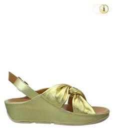 Fitflop Damen Ruche Twist Grace Sandale, grüngold.