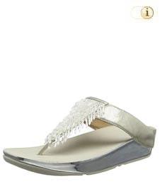 Silberne FitFlop Damen Sandale Rumba mit Kristallfransen, silber.